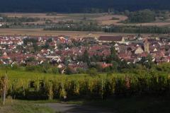 Eguisheim, set fra Husseren-les-Châteaux, Alsace, Frankrig
