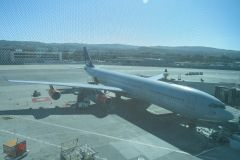 Suk, hjemad mod København med SAS. Vi hader at forlade San Francisco.