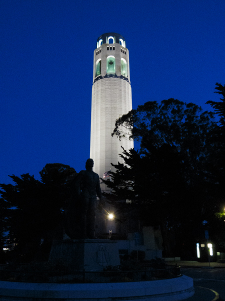 Coit Tower by night, San Francisco, USA