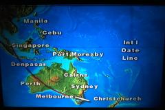 Ombord på Business Class hos Singapore Airlines på vej til Christchurch, New Zealand