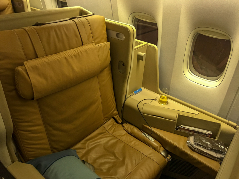 Videre til New Zealand, igen på Business Class hos Singapore Airlines