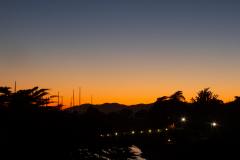 Solnedgangen set fra Berkeley Marina, Berkeley, USA