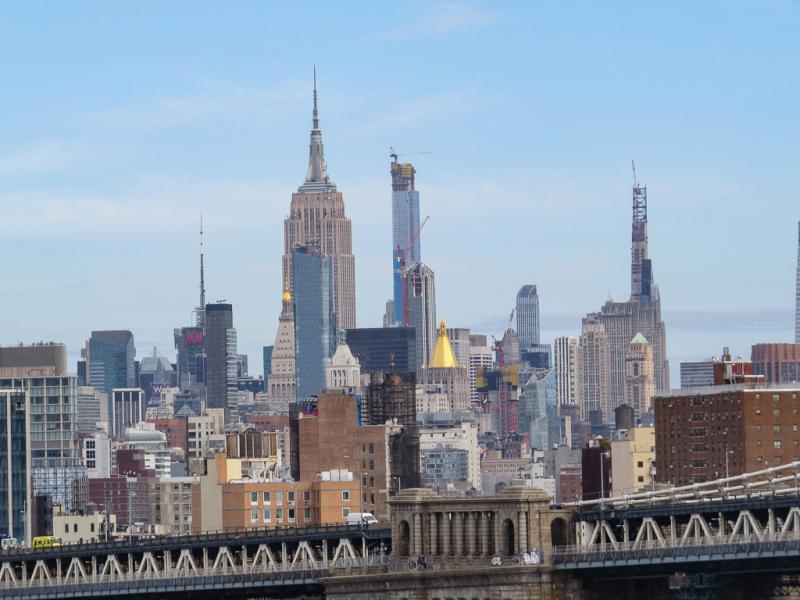Vandretur over Brooklyn Bridge, New York, USA