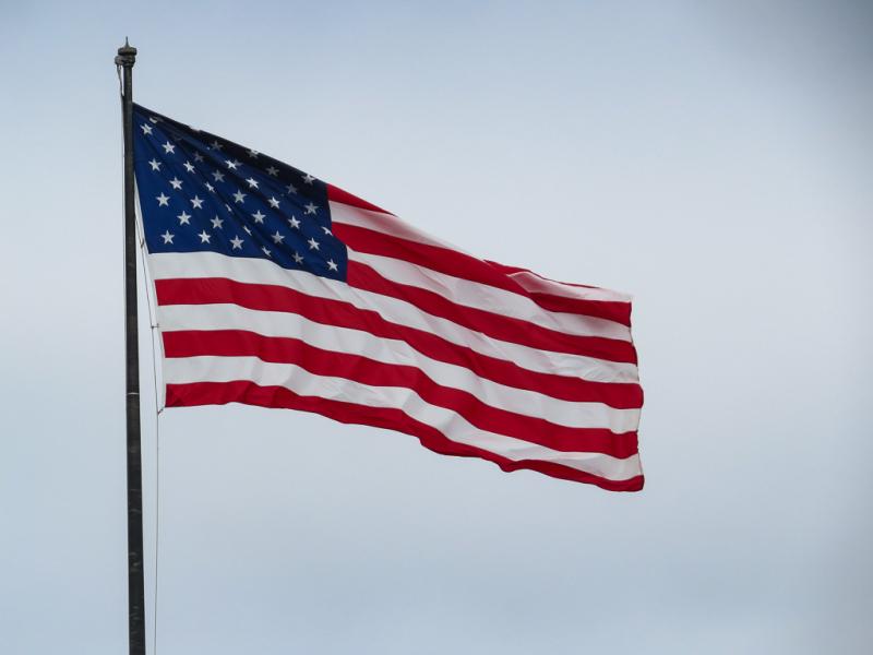 Stars and Stripes på Liberty Island, New York, USA