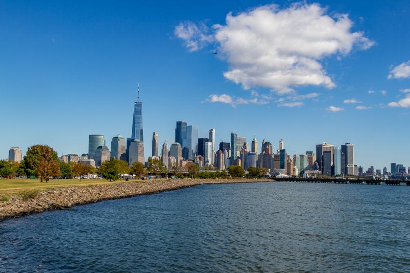 Manhattan set fra Liberty State Park, New Jersey, USA