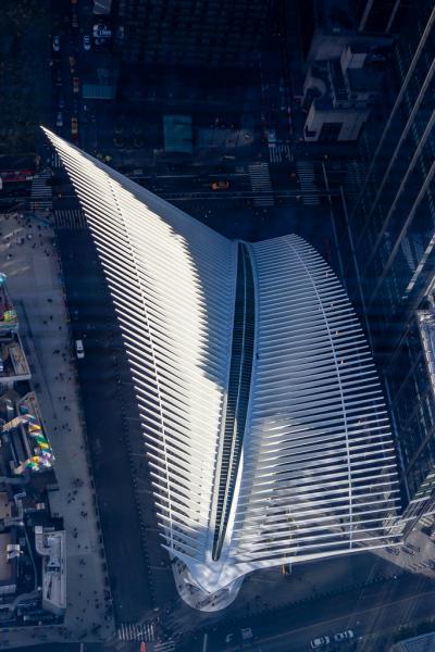 World Trade Center Terminal set fra toppen af One World Trade Center, New York, USA